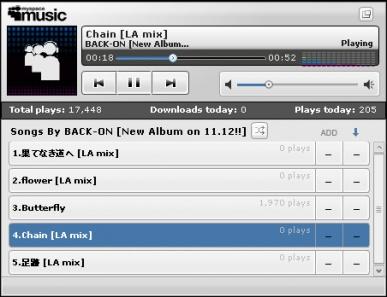Thumbnail screenshot of BACK-ON's Myspace Playlist in Nov 2008
